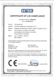 CERTIFICATE of LVD COMPLIANCE(LED Street Light)
