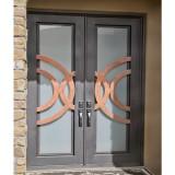 modern style wrought iron front door