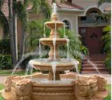 Sandstone carved fountain with audio speaker