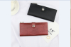 Lichi pattern soft leather wallet with brand logo