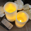 Amber Yellow and Ivory Wax Flameless Pillar LED Candle with Remote
