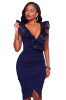 Be the center of attention at your next event in this Blue Ruffle V Neck Detail Midi Dress.
