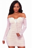 Make a Fashion Statement with White Mesh Ruched Sexy Off Shoulder Mini Dress