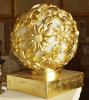 Sandstone Garden Ball Sculpture LED Lighting Golden Lantern with Audio Speaker