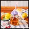 set clear glass mason jar with metal lid and straw