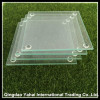set clear square tempered glass coaster