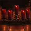 Burgundy Pillar LED Flameless Candle with 8 Key Remote Control for Wedding