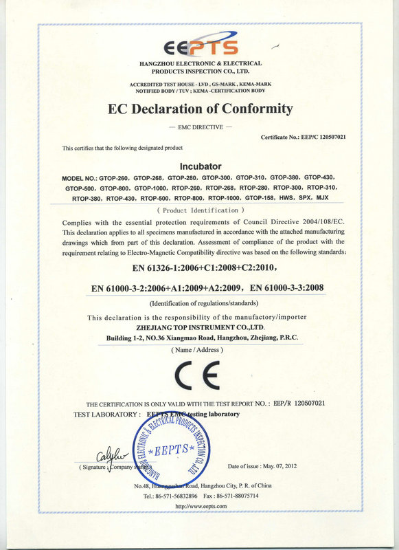 EC declaration of conformity OF Incubator
