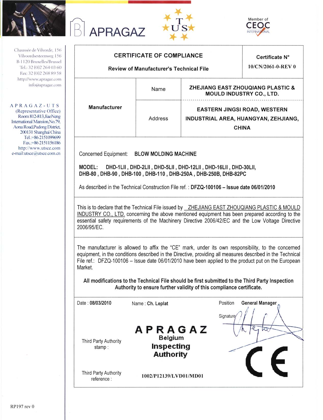 CE Certificate for Blow Molding Machine
