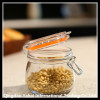 transparent glass storage jar for beans with clip lid