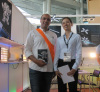Andorra customer in our booth of Hong kong lighting Exhibition