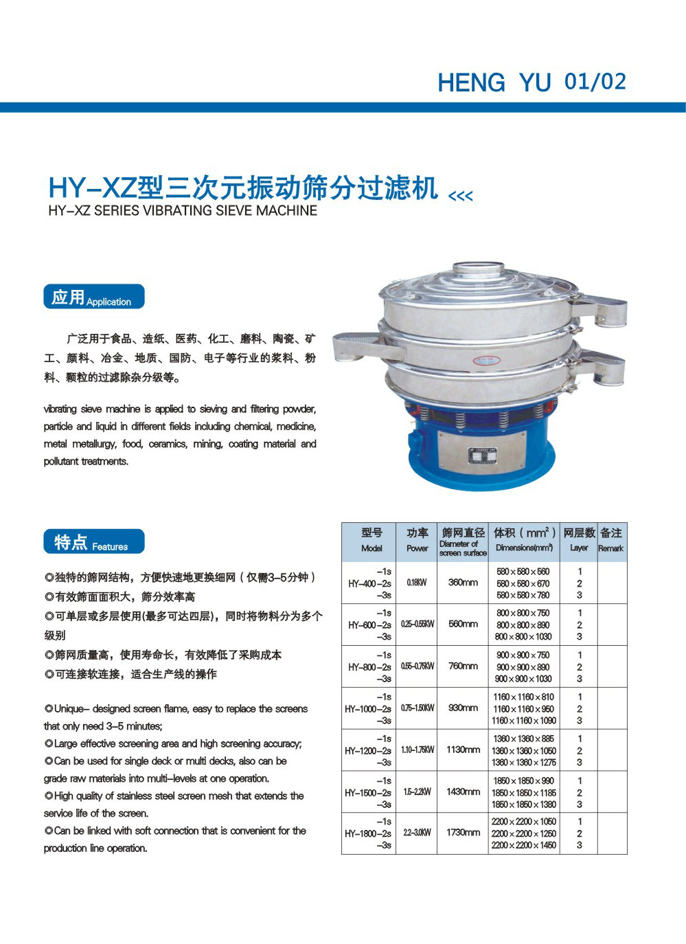 Xinxiang Hengyu Machinery Product Catalog