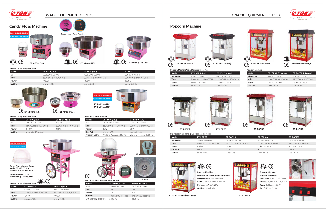 ETL PRODUCTS CANDY FLOSS MACHINE AND POPCORN
