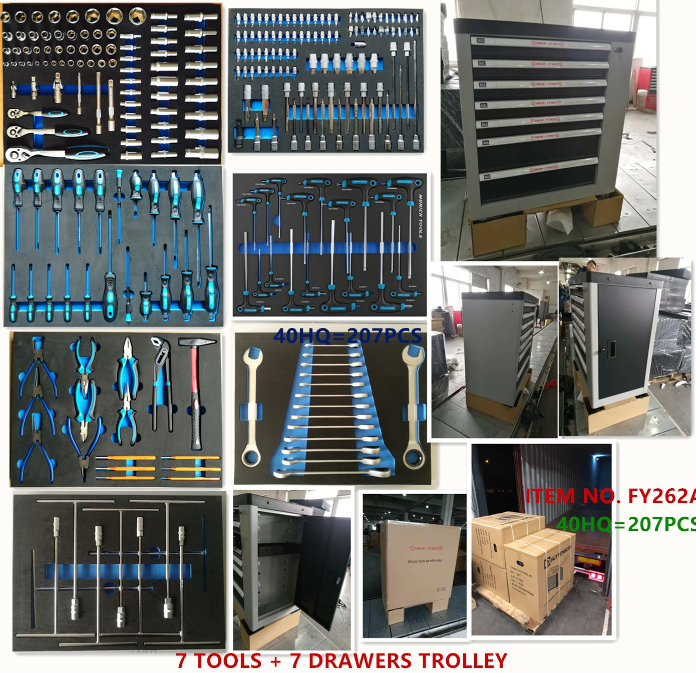7DRAWERS HEAVY DUTY TROLLEY + 6TRAY TOOLS IN EVA PACKING