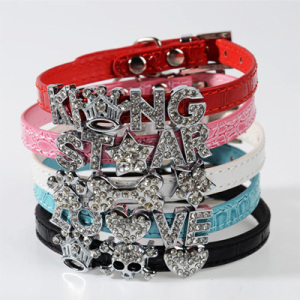 PU Leather Personalize Crystal Slide Letters Dog Collars