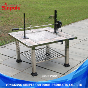 Multifunctional Outdoor BBQ Grill Table, Stainless Steel BBQ Fire Pit