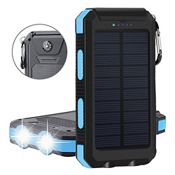 8000mAh Portable Waterproof Solar Power Bank 2 USB Mobile Power Bank