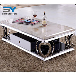 Home Furniture Sofa Table Marble Coffee Table with Heart-Shaped