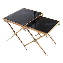 Hotel Furniture Steel Side Table Glass Coffee Table for Sale
