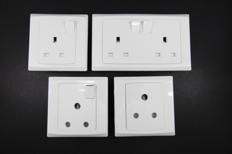 Light switch a square sockets and thermostatic shower