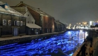 Bluish-White LED Light Bulbs Float on Otaru Canal with a Fantastic Atmosphere