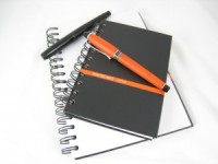 The Whitelines Hard Wired Notebooks with Black Cover and Some Matching Fountain Pens