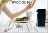 The Eco-Newspaper Is a Projector Device That Projects The Daily News to Table Countertop