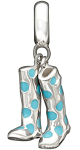 """""""Bring Yer Wellies"""" Sterling Silver and Blue Enamel Charm Is One of The New Pieces"""