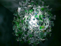 Lauren Elyse Fine Art Created a Kind Chandelier Made Entirely out of Found Beach Glass