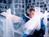 Louis Poulsen's Snow Floor Lamp with Printed Snowflakes on It