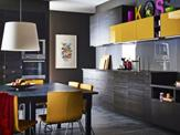 Stunning Black Kitchen Design with Yellow Touches