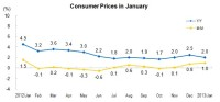 In January, The Consumer Price Index (CPI) Went up by 2.0 Percent Year-on-Year
