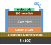 Fully Vertical Gallium Nitride P-I-N Diode Grown on Silicon Substrate