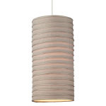The Zip Pendant Is Available in a Cylinder or Drum Shaped Shade of a Pale Brown Fabric