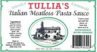 Tullia's Recalling Italian Meatless Pasta Sauce