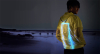 Light Weight Jacket with Bright LED Yarn on The Back Bicyclists Easily Pull Over Clothing