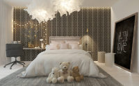 Stylish Girl's Room With Patterned Headboard Wall
