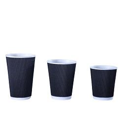 Descartável compostável 12oz Ripple café quente Copa do papel com tampa