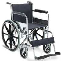 Cadeira de rodas manual de aço dobrável com Estrutura cromada