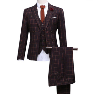 Combinaison à trois pièces (Veste à pantalons) Blazer Dress Costume d'affaires pour hommes