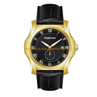 Relojes de cuarzo resistentes al agua de diseño hábil con revestimiento amarillo