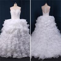Robes de Mariage de Robe de Boule de Lacet de Ruches de Perles (TM-BG012)