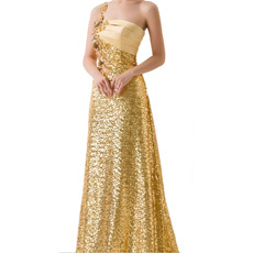 Strapless Floor Length Beaded Fold Chiffon Evening Dresses