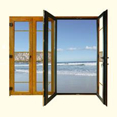 Porta de dobradura composta de madeira de alumínio exterior