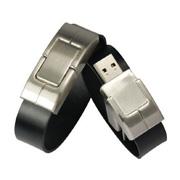 16gb negro de cuero Pulsera Encrypted USB Flash Drive