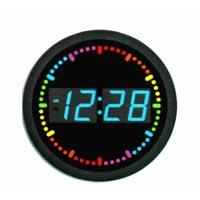 Reloj de pared del LED con el indicador colorido del LED que circunda segundo - dimensión de una variable redonda