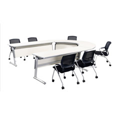 Bureau de bureau sectionnel Tableau de formation en pliage en aluminium Sélection variée pour une forme différente dans la table de conférence