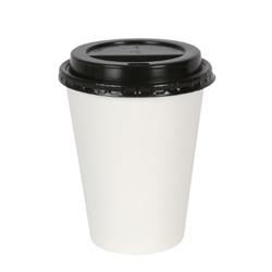 Copo descartable de papel com café quente com tampas