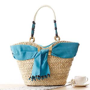 Sacos de palha de moda com cachecol Bolsas de praia para senhoras (T049)