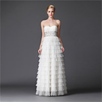 One Shoulder Ruffles Beading Tulle Evening Dress Prom Dress